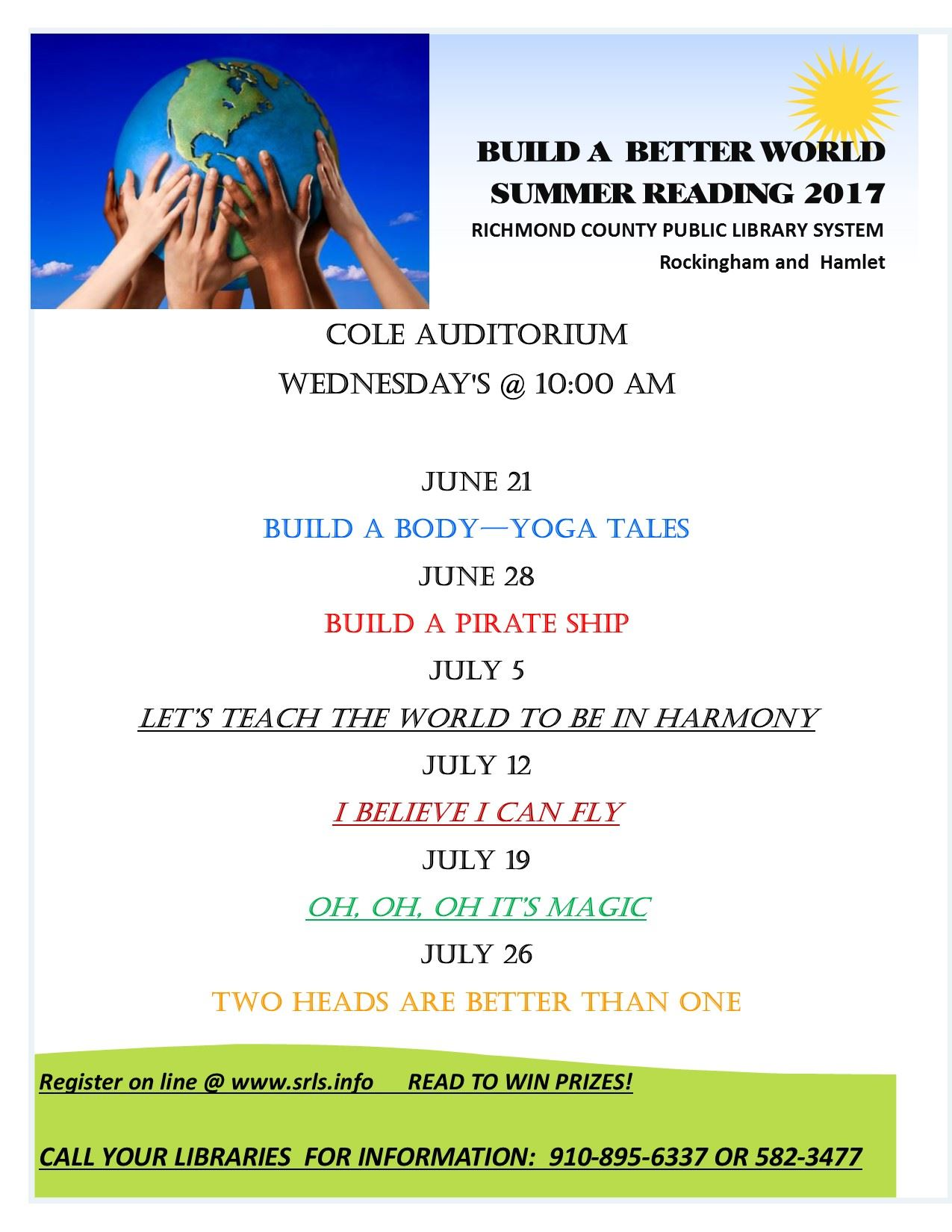 Summer Reading for Leath and Hamlet Libraries