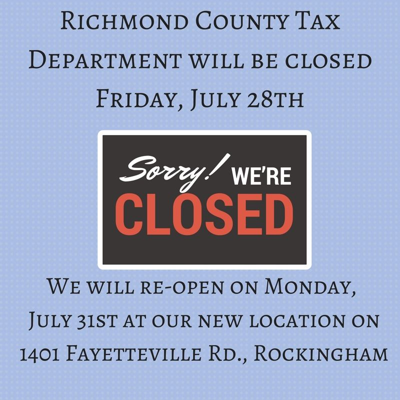 Richmond County Water Collections Department will be CLOSED Friday, May 19th