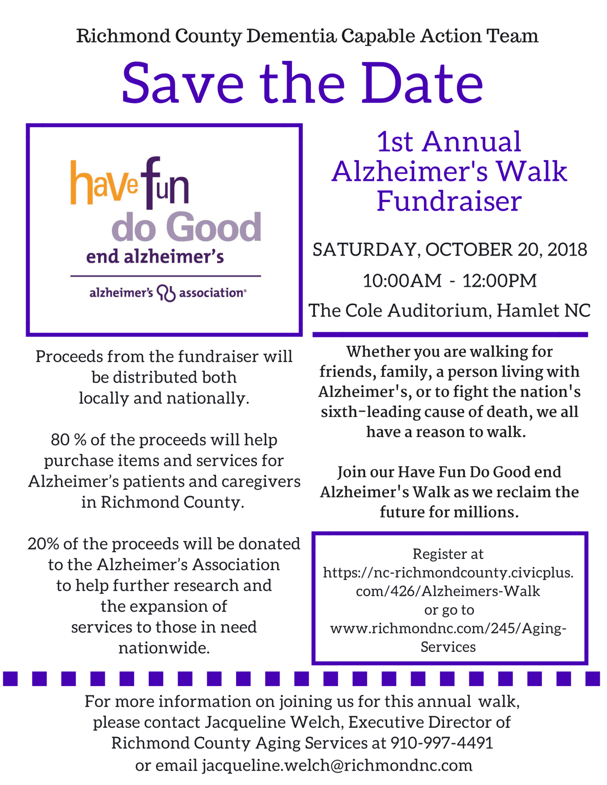 Richmond County- Save the Date- Alzheimer Walk Flyer- 2018