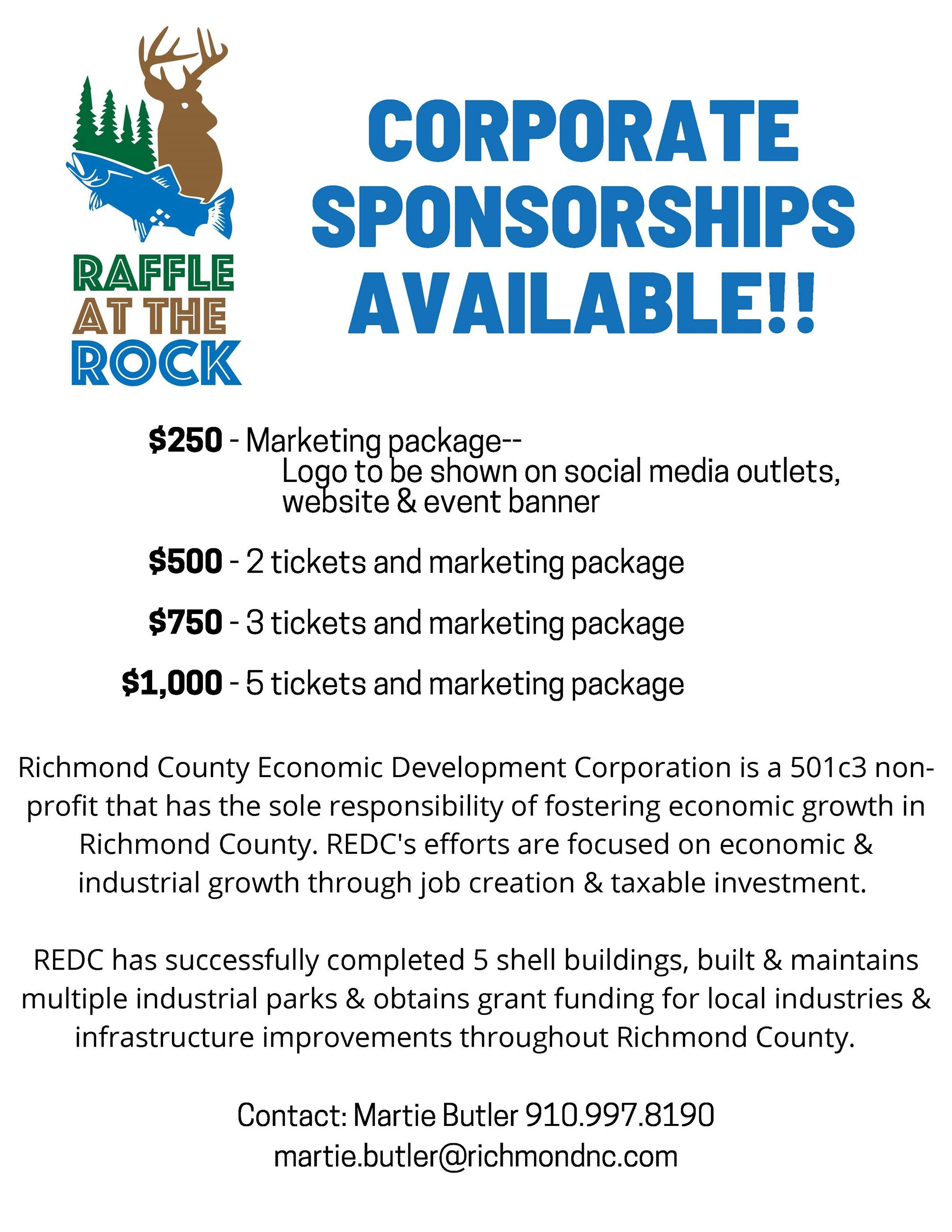 Corporate SPONSORSHIPS AVAILABLE!!