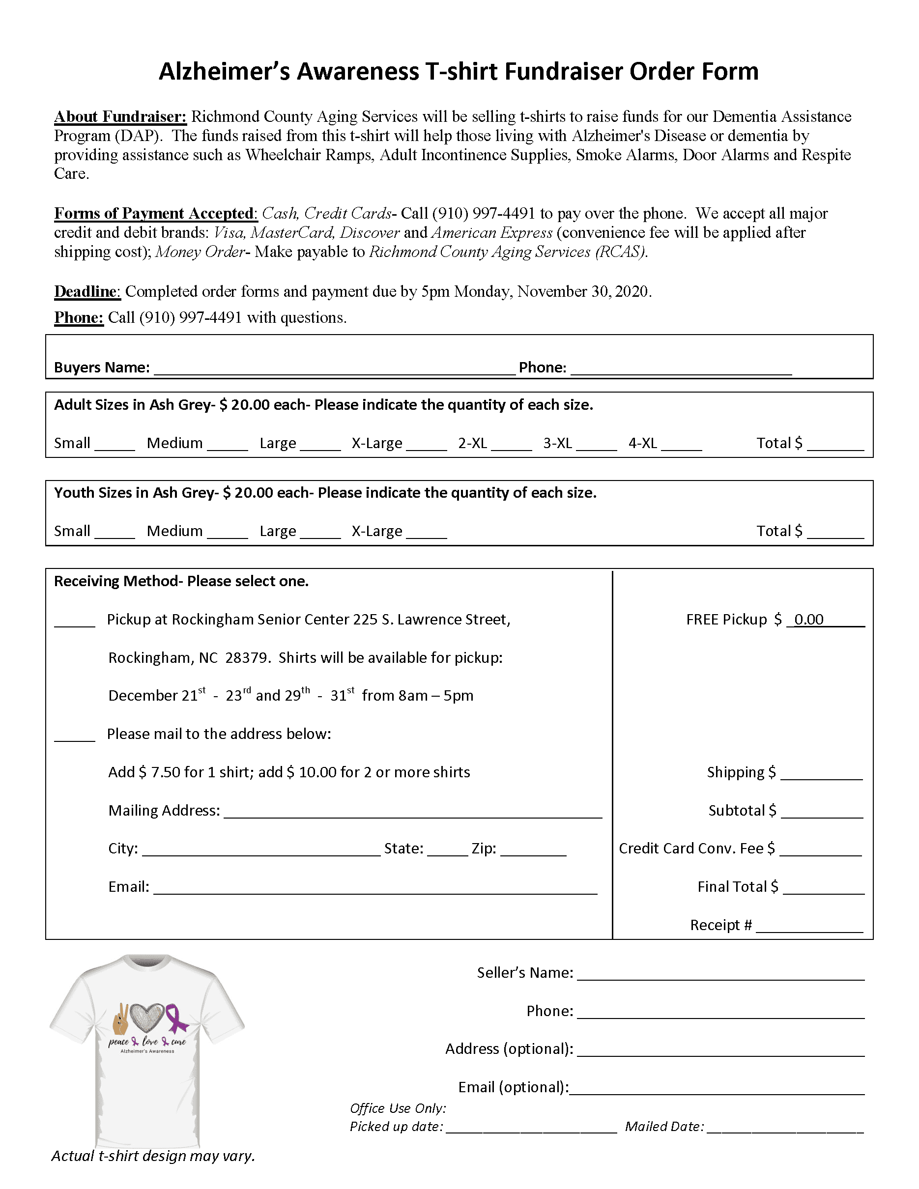 Alz awareness T-shirt order form 2020